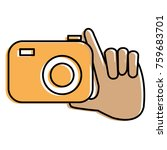 hand with photographic camera... | Shutterstock .eps vector #759683701