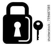 safe secure padlock with key | Shutterstock .eps vector #759687385