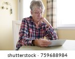 a elderly woman worry about... | Shutterstock . vector #759688984
