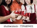 group of friends clink wine... | Shutterstock . vector #759689401