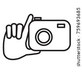 hand with photographic camera... | Shutterstock .eps vector #759693685