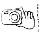 hand with photographic camera... | Shutterstock .eps vector #759693721