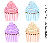 cupcakes set illustration | Shutterstock . vector #759697114