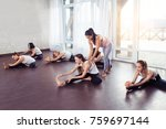group women doing stretching... | Shutterstock . vector #759697144