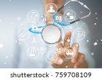 businesswoman on blurred... | Shutterstock . vector #759708109