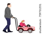 the father rolls the small girl ...   Shutterstock .eps vector #759731551