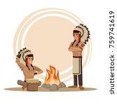 american indians cartoon | Shutterstock .eps vector #759741619