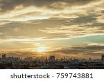 aerial view of dramatic sunset... | Shutterstock . vector #759743881