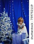 beautiful little girl playing... | Shutterstock . vector #759752119