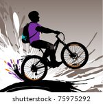 Biker silhouette, vector illustration with splashes. - stock vector