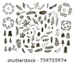 set of hand drawn christmas... | Shutterstock .eps vector #759755974