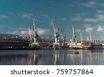 cranes in the port | Shutterstock . vector #759757864