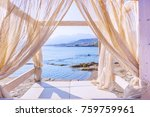 sea view through the curtains... | Shutterstock . vector #759759961