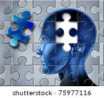 Stock photo ideas and intelligence representing the concept of inspiration and creativity with a human head on 75977116