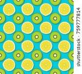 kiwi and lemon seamless pattern ... | Shutterstock .eps vector #759777814
