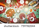 christmas festive dinner.... | Shutterstock .eps vector #759782044