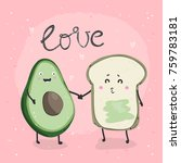avocado and toast. hand drawn... | Shutterstock .eps vector #759783181