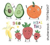 hand drawn healthy fruits and... | Shutterstock .eps vector #759786547