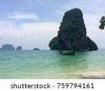 walking along phra nang beach... | Shutterstock . vector #759794161