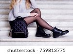woman legs in black ankle boots ... | Shutterstock . vector #759813775