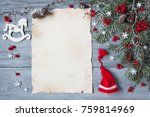 christmas wood background with... | Shutterstock . vector #759814969