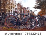 bicycles parked on a bridge in... | Shutterstock . vector #759822415
