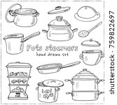 hand drawn doodle pots steamers ...   Shutterstock .eps vector #759822697