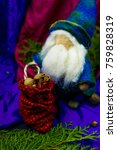 Small photo of gnome toys Waldorf felted wool gift bag with peanuts
