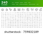 240 thin line icons collection. ... | Shutterstock .eps vector #759832189