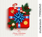 gift box red present in gold... | Shutterstock . vector #759836965