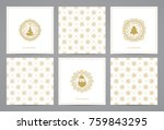 luxury retro x mas cards with... | Shutterstock .eps vector #759843295