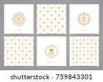 luxury retro x mas cards with... | Shutterstock .eps vector #759843301