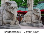stone elephants at the entrance ... | Shutterstock . vector #759844324