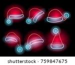 neon santa's hats set....   Shutterstock .eps vector #759847675