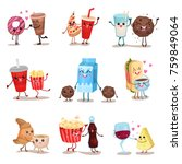cute funny food and drink... | Shutterstock .eps vector #759849064
