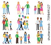 parents and their kids set ... | Shutterstock .eps vector #759849127