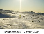 father and son skiing together. ... | Shutterstock . vector #759849634