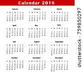 calendar 2018 vector. classic... | Shutterstock .eps vector #759850297