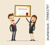businessman and businesswoman... | Shutterstock .eps vector #759851797