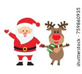 santa claus and reindeer are... | Shutterstock .eps vector #759860935