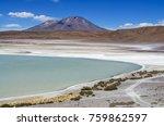 laguna verde is a salt lake at...   Shutterstock . vector #759862597