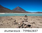 laguna verde is a salt lake at...   Shutterstock . vector #759862837
