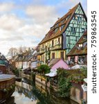 Small photo of The little Venice of Colmar - is a picturesque old tourist area near the historic center of Colmar, Haut-Rhin, Alsace, France.
