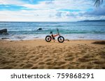 a deserted tropical beach and... | Shutterstock . vector #759868291