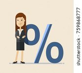 business woman and percent sign.... | Shutterstock .eps vector #759868777