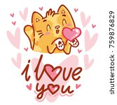 cute cat character in love with ... | Shutterstock .eps vector #759876829
