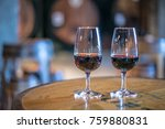 two port wine glasses against a ... | Shutterstock . vector #759880831
