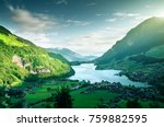 aerial view on lungernsee lake  ...   Shutterstock . vector #759882595