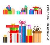 gift boxes vector set christmas ... | Shutterstock .eps vector #759884665