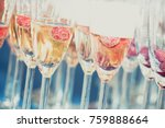 glasses of champagne with a... | Shutterstock . vector #759888664